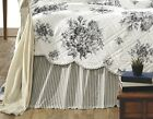 BLACK WHITE TICKING STRIPE Twin Queen King BED SKIRT : JOSEPHINE RUFFLE BEDSKIRT