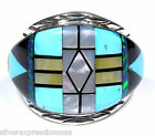 Multicolor, Turquoise & Fire Opal 925 Sterling Silver Men's Ring Size 11.75