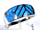 Blue Fire Opal Inlay 925 Sterling Silver Men's, Women's Band Ring Size 6,7,8,9