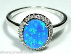 Blue Fire Opal & White Topaz Solid 925 Sterling Silver Ring size 6 - 8.75