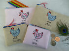 Personalised Hen Chicken Purse or Pencil Case Pink or Linen Choice of words gift