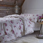 Catherine Lansfield Home Brushed Floral Cotton Reversible Duvet Cover Set, Pink