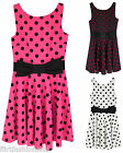 Womens Polka Dot Vintage Dress Skater Ladies Dresses Bow Front Sleeveless 8 - 14