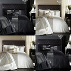 Catherine Lansfield Home Glamour Sequin Band Faux Silk Duvet Cover Set