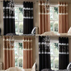 Catherine Lansfield Home Glamour Jacquard Faux Silk Eyelet Lined Curtains