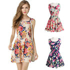 Sleeveless Women Sexy Evening Cocktail Beach Casual Floral Party Short Dress UK