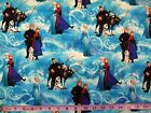 FROZEN - DISNEY CHARACTERS ON BLUE cotton patchwork fabric