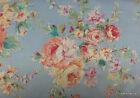 Blue Shabby Chic Fabric Pink Rose Shabby Floral Cotton Fabric Yardage t1/28
