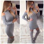 Sexy Women Long Sleeve Bodycon Slim Party Evening Cocktail Short Mini Dress