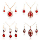 Wholesale Wedding Bride Jewelry Set 18K Gold Plated Red Crystal Necklace Earring