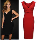 Size 6-16 Women's Sexy Black Red Evening Party Bodycon Dress V-Neck Pencil Dress