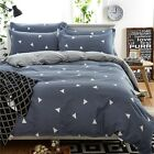 Grey Duvet Quilt Doona Cover Set Double Queen King Size Bed Cover 100%Cotton New