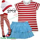 Ladies Girls RED & WHITE STRIPED T-Shirt Book Week fancy dress Hen Party