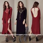 Sexy Womens Fashion Long Bracelet sleeve Evening Party Cocktail Backless Dress