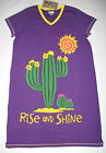 Womens Funny Nightshirts Sleepshirts Gowns Cactus Rise Shine Lazy One Sleepwear
