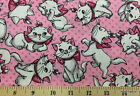 Aristocats Marie the Cat Pink Fabric By the Yard, Half Kitty Cotton Fabric t5/14