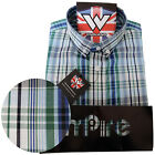 Warrior Retro Short Sleeve Button Down Shirt WALLIS Mod Skinhead Blue Green Grey