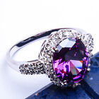 PURPLE AMETHYST OVAL & WHITE TOPAZ .925 Sterling Silver Ring Sizez 5-10