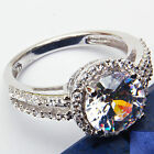 3.00ct Round Russian CZ Engagement .925 Sterling Silver Ring Size 5-9