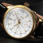 Ks Imperial Automatic Mechanical Date Day White Golden Mens Leather Wrist Watch