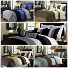 Chezmoi Collection 8-Piece Luxury Pintuck Pleated Stripe Duvet Cover Set image