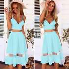 Women's Casual Dress Set Strap Backless Summer Crop Tops and Pleated Skirt TXST