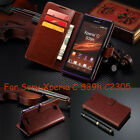 Hot Card Slots Stand Leather Wallet Case Skin Cover For Sony Xperia C S39h C2305