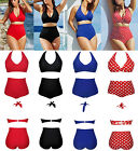 41420-Plus Size 2 Piece High Waisted Halter Neck Swimming Costume Bikini-