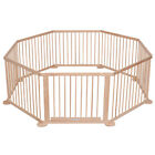Child Baby Children Kid Wooden Playpen Play Pen Room Divider 12 Poles/bars Sided