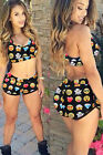 4289-Sexy Black Vibrant Emoji Print High Waisted Shorts and Top Set-UK 8-12