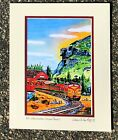 MT WASHINGTON VALLEY TRAIN ART PRINT Old Man Mountain Covered Bridge White Gift