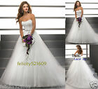 White/ivory A-Line Wedding Dress Bridal Ball Gown Size 6-8-10-12-14-16 or Custom