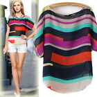 Fashion Summer chiffon blouse Colorful Stripe Loose Batwing Sleeve Chiffon Shirt