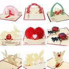 3D Pop Up Greeting Cards Kirigami Happy Birthday Wedding Anniversary Invitation