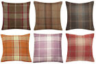 "HIGHLAND CHECK TARTAN Textured Brushed Faux WOOL Effect 18"" Pair Cushion Covers"