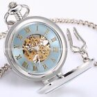 Classic Mens Skeleton Rome Dial Steampunk Pendant Mechanical Pocket Analog Watch