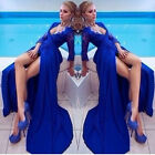Blue Women Long Lace Prom Ball Cocktail Party Dress Mermaid Wedding Evening Gown