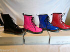 ELLA DESIGNER PATENT STUD BOOTS DM BLUE STUD PINK BLACK RED BNIB NEW NEON ROCK