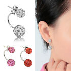 Fashion Women Jewelry Silver Plated Double Beads Crystal Ear Studs Earrings