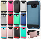 For Samsung Galaxy S7 / S7 EDGE Brushed Metal HYBRID Rubber Case Phone Cover
