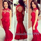 New Red Prom Dreses Party Beaded Evening Dress 2016 Lace Mermaid Formal Gowns