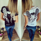 New Sexy Women Summer Angel Wings Hollow Short Sleeve Tops T-Shirt Ladies Blouse