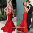 Glamorous Red Prom Dreses Party Evening Dress 2016 Lace Mermaid Formal Gowns