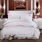 Emberider White Doona Covers Queen/King Bed Linen Cotton Quilt/Duvet Cover Set