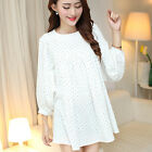 Women Maternity White Tunic Long Sleeve Neck Tops Pregnancy Dot Loose Mini Dress