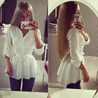New Fashion Womens Long Sleeve Button Down Casual Tops Blouse Shirt Slim Dress