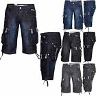 New Mens Designer Crosshatch Denim Shorts Cargo Combat Pants Jeans 3/4 Bermuda