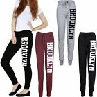 Women Jogging Ladies Bodycon Casual Brooklyn Print Jogger Gym Full Length Pants