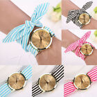 New Women Dress Faux Bow Decor Band Analog Quartz Bracelet Wrist Ribbon Watches