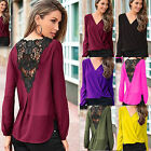 New Summer Womens Lace Chiffon Long Sleeve Blouse Casual Loose Tops T Shirt Tee